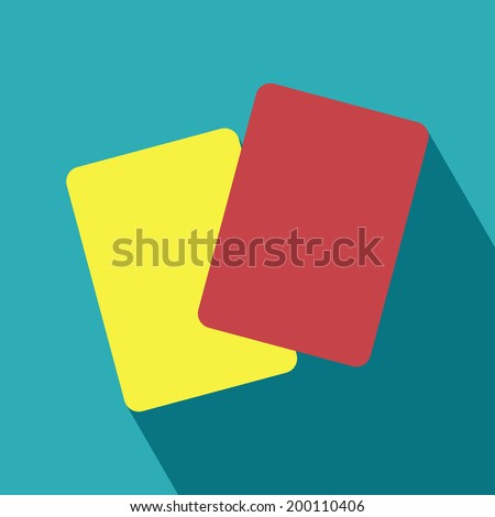 Red and Yellow Card Icon. Yellow card, Red card. Football and abstract signs. Vector Illustration. - stock vector