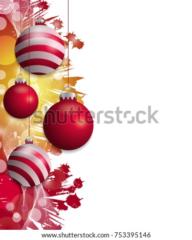 Red and yellow Christmas background with hung red baubles. Decorative balls elements for holiday design. Vector illustration.