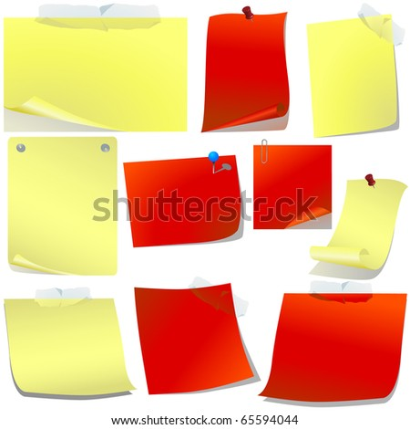 Red and yellow pinned paper set isolated on white vector - stock vector