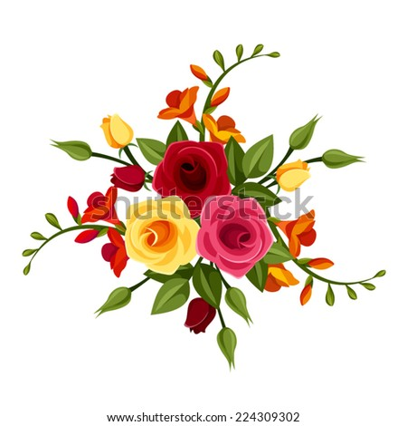 Red and yellow roses and freesia flowers. Vector illustration. - stock vector