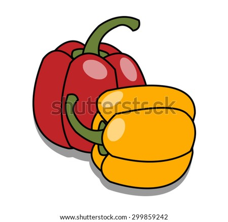 red and yellow sweet peppers on white background - stock vector