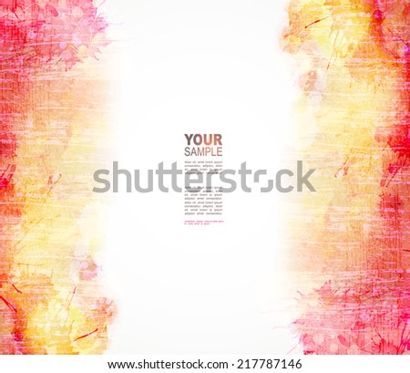 Red and yellow watercolor background. Vector blob  - stock vector