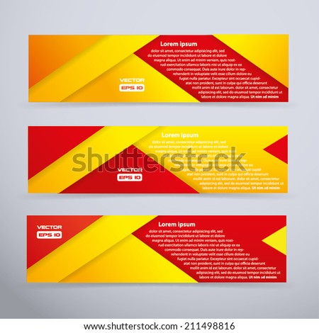 Red and yellows banner set - vector illustration - stock vector