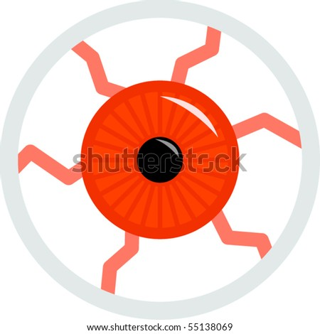 red angry eye - stock vector