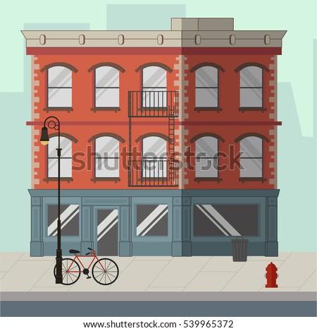 Street Landscape Apartment Buildings Shops Bars Stock Vector