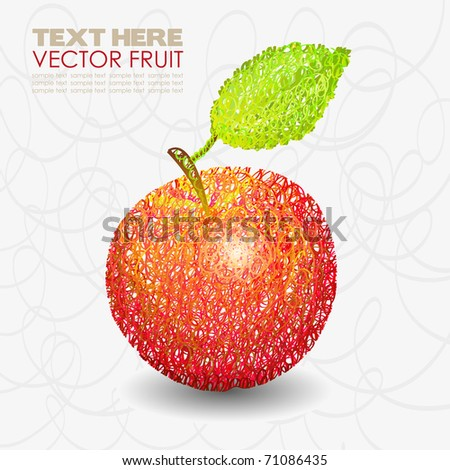 Red apple fruit designs with leaf hand drawn. Vector illustration - stock vector