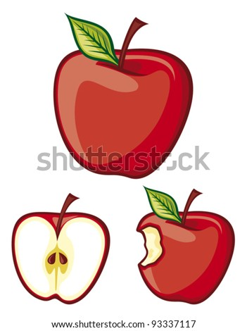 red apple (half of apple, bitten apple ) - stock vector