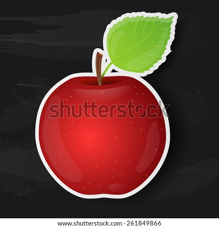 Red apple isolated on black background. Vector illustration. - stock vector