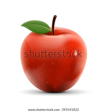Red apple isolated on white background. Ripe fruit. Stock vector illustration.