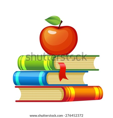 Red apple on a pile of books - stock vector