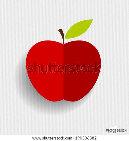Red apple. Vector illustration - stock vector