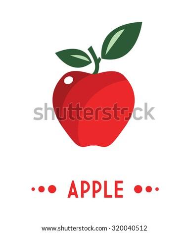 Red apple - vector illustration - stock vector