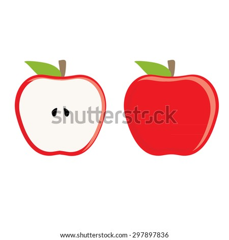 Red apple whole and half apple vector set, fresh fruit, healthy food - stock vector