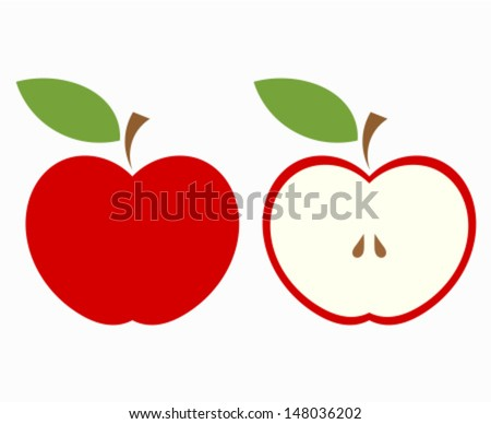 Red apple, whole and half of fruit. Vector illustration - stock vector