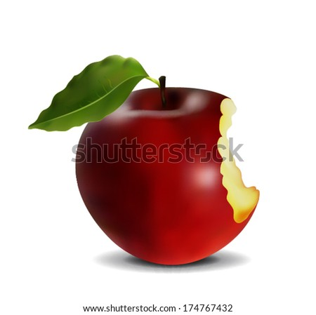 red apple with a bite - stock vector