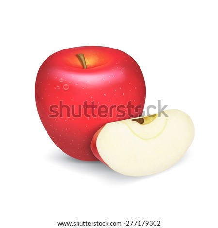 Red apple with apple lobule. EPS10 vector - stock vector