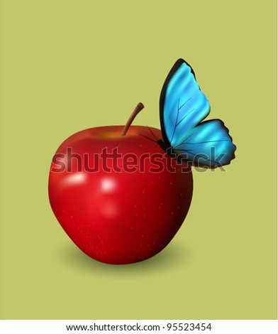 Red Apple with Blue Butterfly