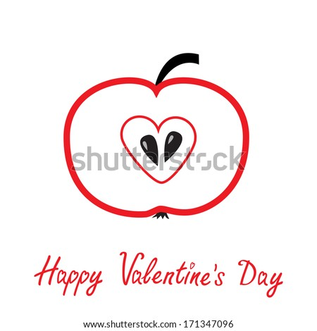 Red apple with heart shape. Happy Valentines Day card. Vector illustration