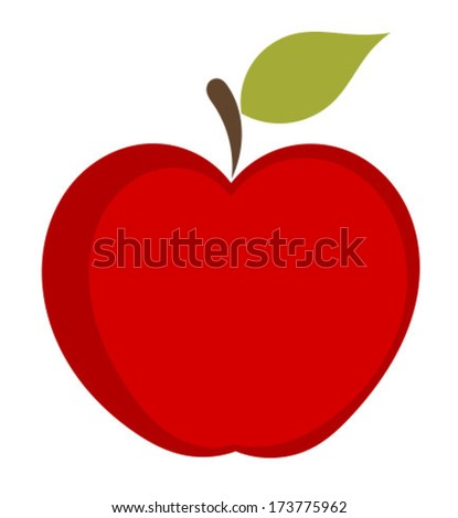 Red apple with leaf icon over white. Vector illustration - stock vector