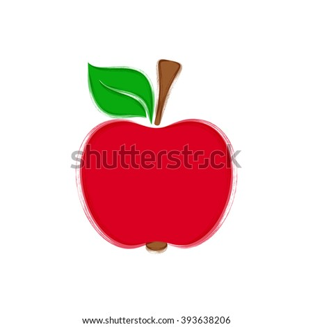 Red apple with leaf vector brush strokes illustration