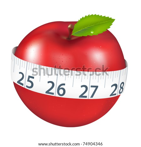 Red Apple With Measurement, Isolated On White Background, Vector Illustration - stock vector