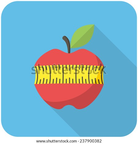 Red apple with measuring tape, modern flat icon with long shadow - stock vector