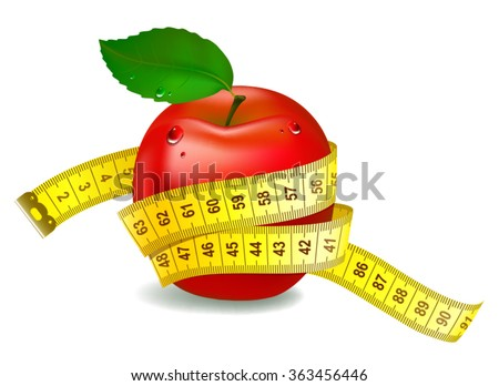 Red apple with measuring tape. The symbol of healthy nutrition - stock vector
