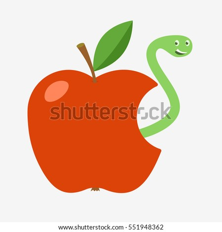 Red Apple With Missing Bite And Worm Inside Cartoon Icon Isolated On White