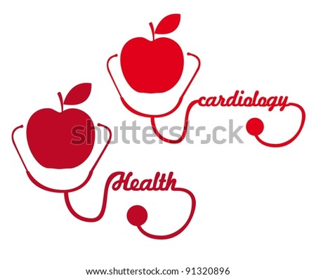 red apple with stethoscope silhouette vector illustration - stock vector