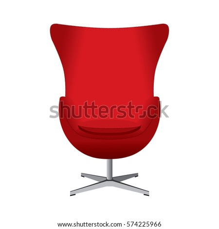 Red Armchair. Vector Isolated Illustration