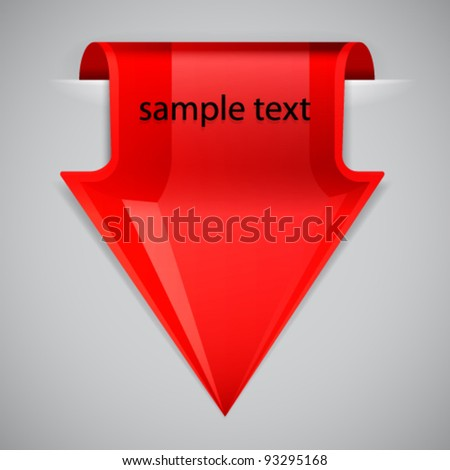 Red arrow bookmark. Design element. - stock vector