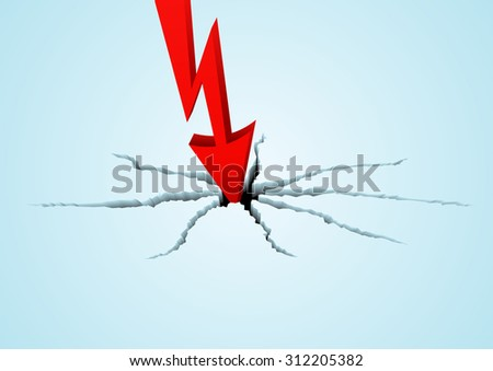 Red arrow breaks the surface in vector. The metaphor of falling of quotations or financial business indicators - stock vector