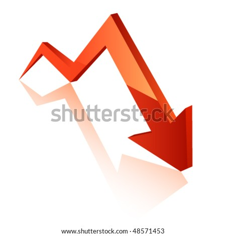 red arrow downwards - stock vector