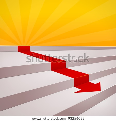 Red arrow on steps - stock vector