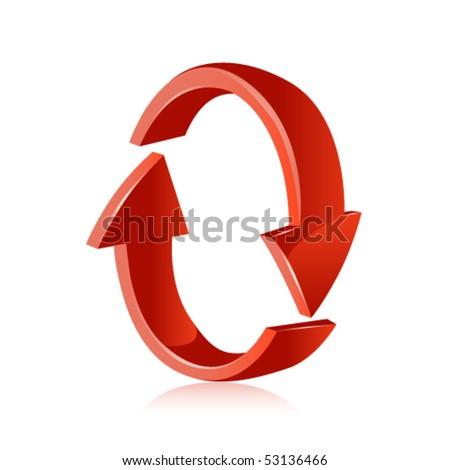 Red arrow. Recycle. Vector - stock vector