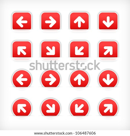 Red arrow sign sticker on cut paper pocket. Web button blank satin circles and rounded square shapes with gray drop shadow on white background. This vector illustration design element 10 eps - stock vector