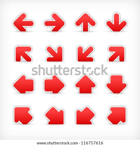 Red arrow sign sticker on cut paper pocket. Web button blank satin shapes with gray drop shadow on white background. This vector illustration clip-art design element saved in 10 eps - stock vector