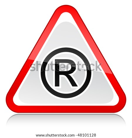 Red attention warning sign with registered symbol on white - stock vector