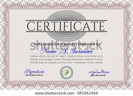 Red certificate template diploma template complex stock vector red awesome certificate template award money pattern with great quality guilloche pattern yadclub Choice Image
