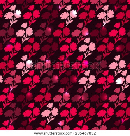 Red backdrop with flowers. Seamless pattern with contours of flowers. Vector endless background. Bright repeating wallpaper. Modern design.  - stock vector