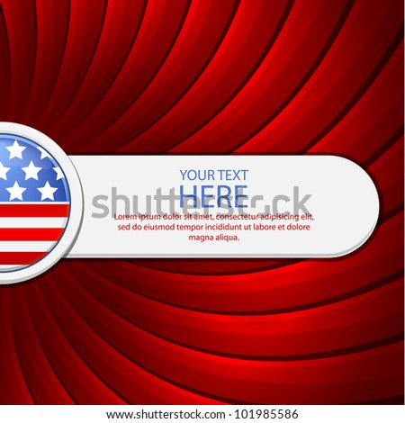 Red background on the theme of July 4th with a white banner - stock vector