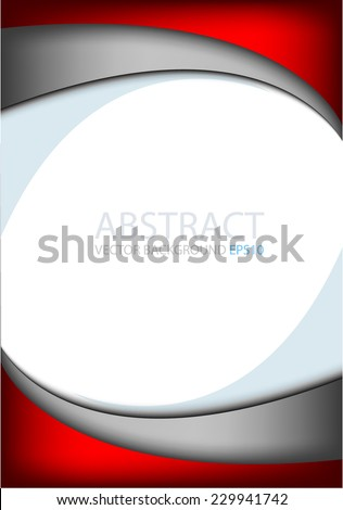 Red background on white with silver grey line paper curve line abstract for text and message modern artwork design , vector - stock vector