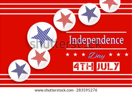 Red background, poster with white, round labels, icons with striped, blue, red star, text 4th July Independence Day - stock vector