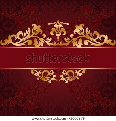 red background with a gold ornate ornaments - stock vector