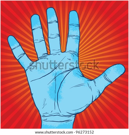 red background with blue hand