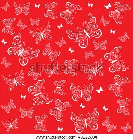 red background with butterfly