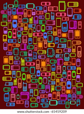 Red Background with cellphones and smartphones in vectors