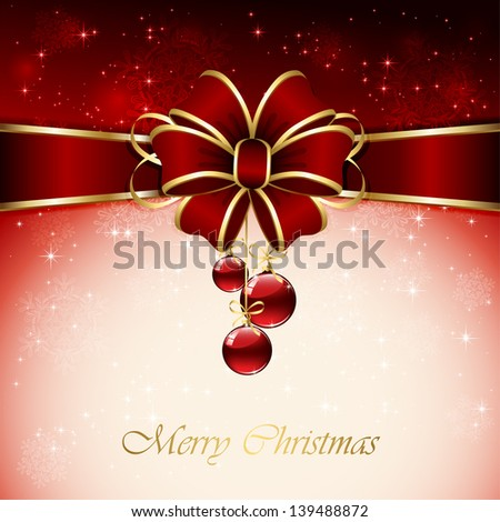 Red background with Christmas balls, bow, snowflake and stars, illustration. - stock vector