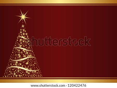 red background with christmas tree - stock vector