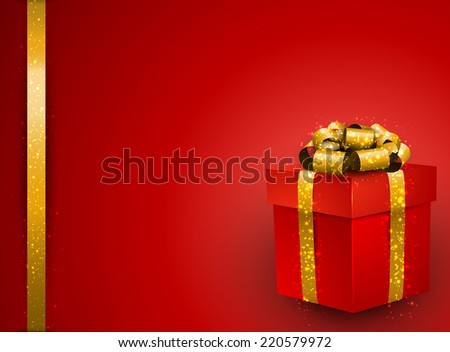 Red background with 3d realistic gift box and golden bow. Vector illustration.  - stock vector
